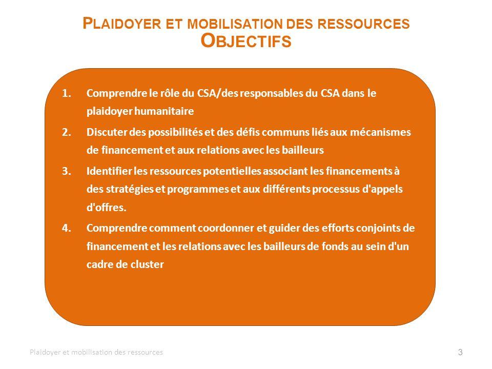 1.Comprendre le rôle du CSA/des responsables du CSA dans le plaidoyer humanitaire 2.Discuter des possibilités et des défis communs liés aux mécanismes
