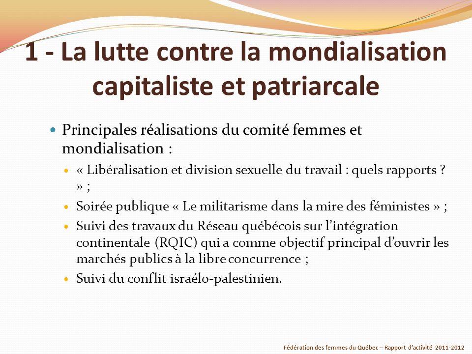 1 - La lutte contre la mondialisation capitaliste et patriarcale Principales réalisations du comité femmes et mondialisation : « Libéralisation et division sexuelle du travail : quels rapports .