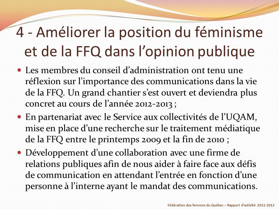 4 - Améliorer la position du féminisme et de la FFQ dans lopinion publique Les membres du conseil dadministration ont tenu une réflexion sur limportance des communications dans la vie de la FFQ.