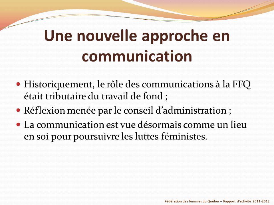 Une nouvelle approche en communication Historiquement, le rôle des communications à la FFQ était tributaire du travail de fond ; Réflexion menée par le conseil dadministration ; La communication est vue désormais comme un lieu en soi pour poursuivre les luttes féministes.