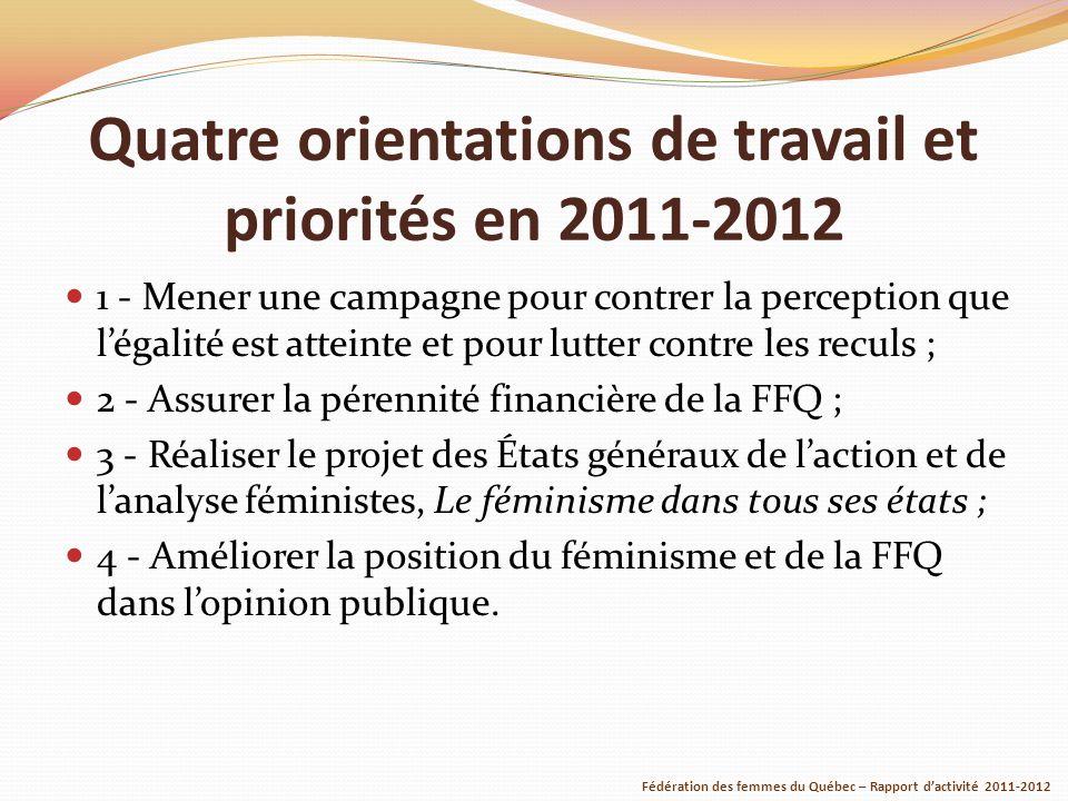 Quatre orientations de travail et priorités en 2011-2012 1 - Mener une campagne pour contrer la perception que légalité est atteinte et pour lutter contre les reculs ; 2 - Assurer la pérennité financière de la FFQ ; 3 - Réaliser le projet des États généraux de laction et de lanalyse féministes, Le féminisme dans tous ses états ; 4 - Améliorer la position du féminisme et de la FFQ dans lopinion publique.