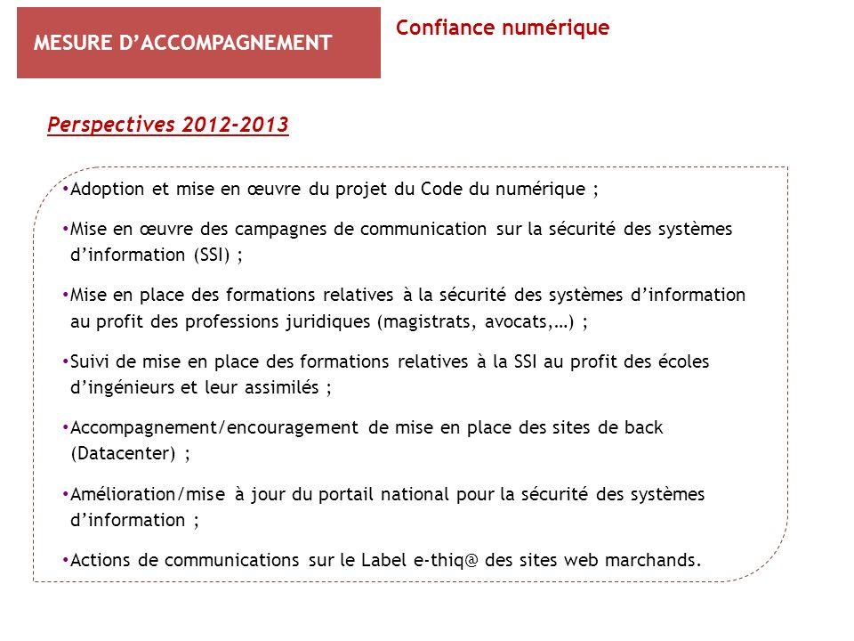 MESURE DACCOMPAGNEMENT Perspectives 2012-2013 Confiance numérique Adoption et mise en œuvre du projet du Code du numérique ; Mise en œuvre des campagn