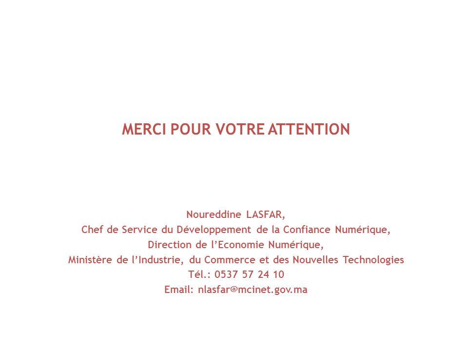 MERCI POUR VOTRE ATTENTION Noureddine LASFAR, Chef de Service du Développement de la Confiance Numérique, Direction de lEconomie Numérique, Ministère