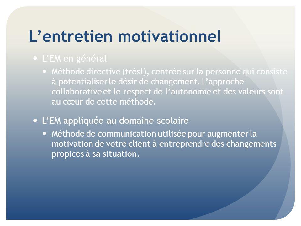 Lentretien motivationnel Comment influencer lautre et favoriser concrètement le changement.