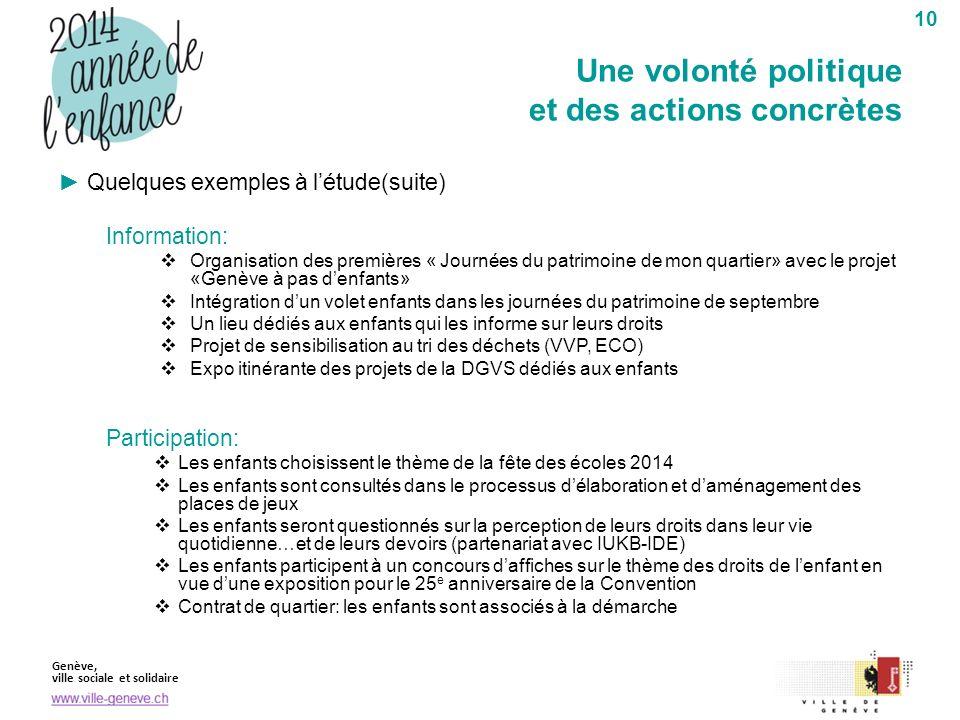 Genève, ville sociale et solidaire 10 Quelques exemples à létude(suite) Information: Organisation des premières « Journées du patrimoine de mon quarti