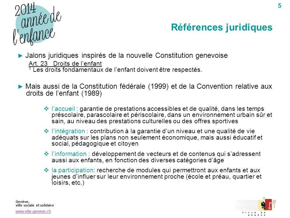 Genève, ville sociale et solidaire 5 Jalons juridiques inspirés de la nouvelle Constitution genevoise Art. 23 Droits de lenfant 1 Les droits fondament