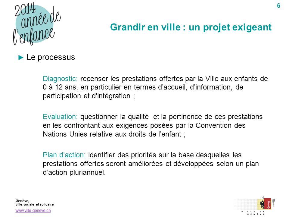 Genève, ville sociale et solidaire 6 Le processus Diagnostic: recenser les prestations offertes par la Ville aux enfants de 0 à 12 ans, en particulier