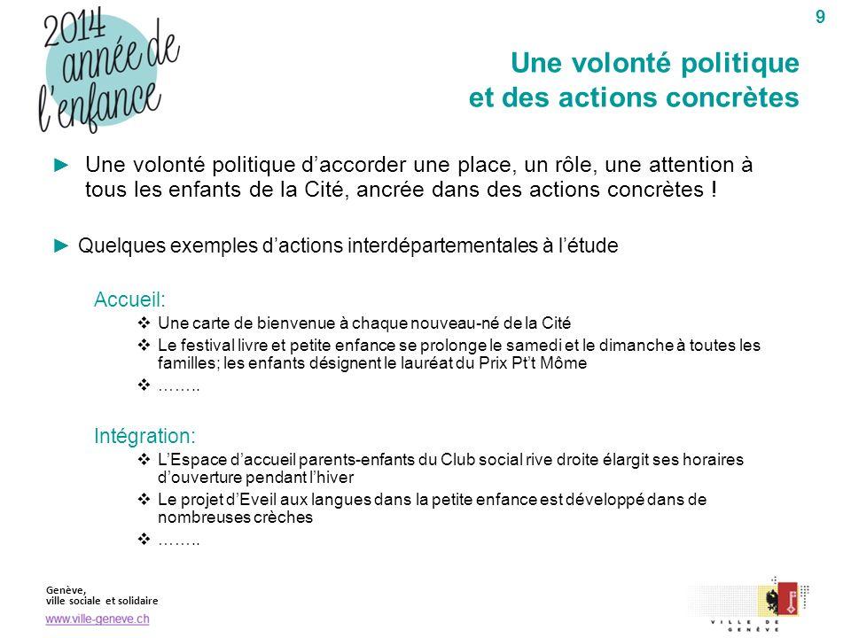 Genève, ville sociale et solidaire 9 Une volonté politique daccorder une place, un rôle, une attention à tous les enfants de la Cité, ancrée dans des actions concrètes .