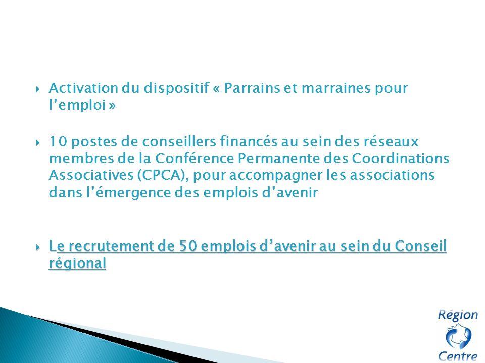 Activation du dispositif « Parrains et marraines pour lemploi » 10 postes de conseillers financés au sein des réseaux membres de la Conférence Permane