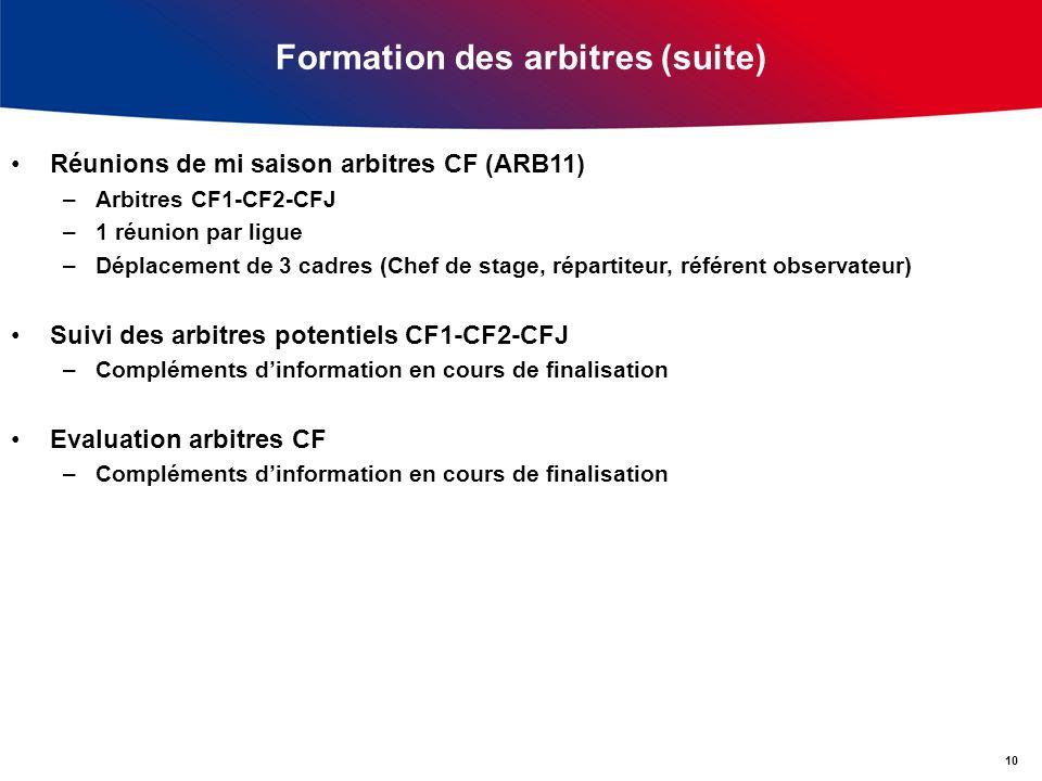 Formation des arbitres (suite) Réunions de mi saison arbitres CF (ARB11) –Arbitres CF1-CF2-CFJ –1 réunion par ligue –Déplacement de 3 cadres (Chef de