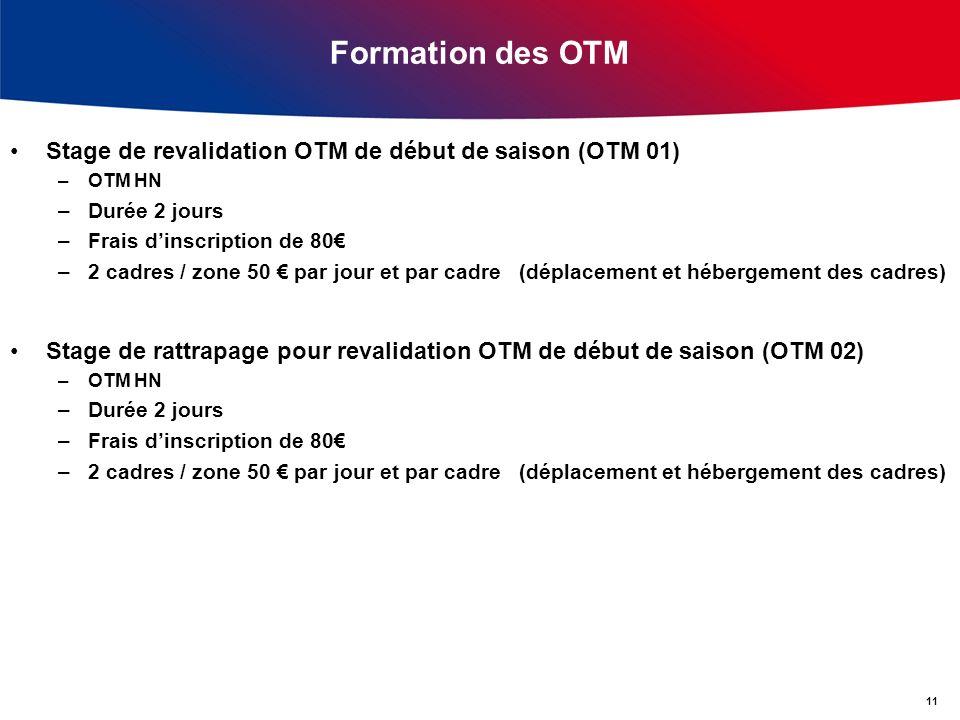 Formation des OTM Stage de revalidation OTM de début de saison (OTM 01) –OTM HN –Durée 2 jours –Frais dinscription de 80 –2 cadres / zone 50 par jour