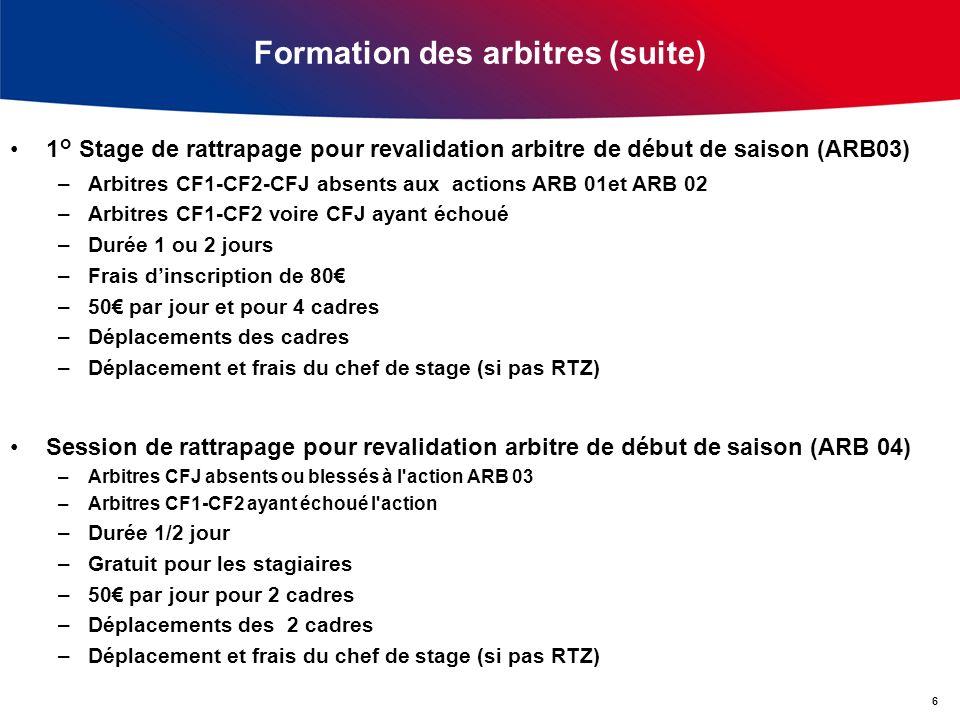 Formation des arbitres (suite) 1° Stage de rattrapage pour revalidation arbitre de début de saison (ARB03) –Arbitres CF1-CF2-CFJ absents aux actions A