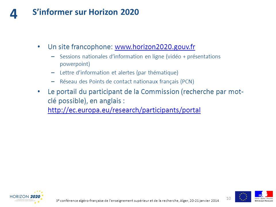 Un site francophone: www.horizon2020.gouv.frwww.horizon2020.gouv.fr – Sessions nationales dinformation en ligne (vidéo + présentations powerpoint) – L