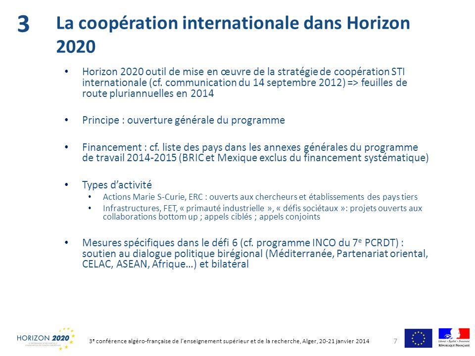 Horizon 2020 outil de mise en œuvre de la stratégie de coopération STI internationale (cf. communication du 14 septembre 2012) => feuilles de route pl