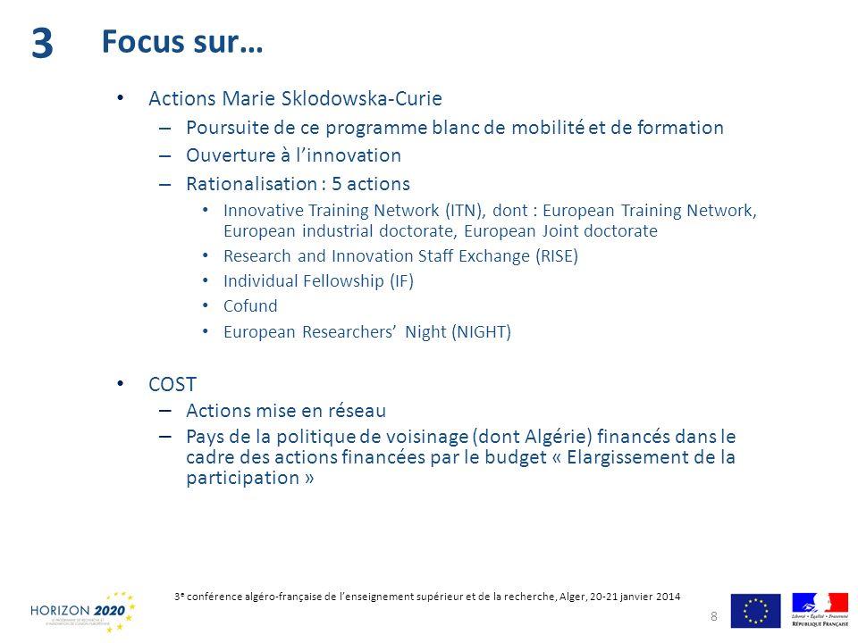 Actions Marie Sklodowska-Curie – Poursuite de ce programme blanc de mobilité et de formation – Ouverture à linnovation – Rationalisation : 5 actions I