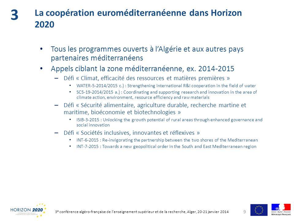 Un site francophone: www.horizon2020.gouv.frwww.horizon2020.gouv.fr – Sessions nationales dinformation en ligne (vidéo + présentations powerpoint) – Lettre dinformation et alertes (par thématique) – Réseau des Points de contact nationaux français (PCN) Le portail du participant de la Commission (recherche par mot- clé possible), en anglais : http://ec.europa.eu/research/participants/portal http://ec.europa.eu/research/participants/portal 10 Sinformer sur Horizon 2020 4 3 e conférence algéro-française de lenseignement supérieur et de la recherche, Alger, 20-21 janvier 2014