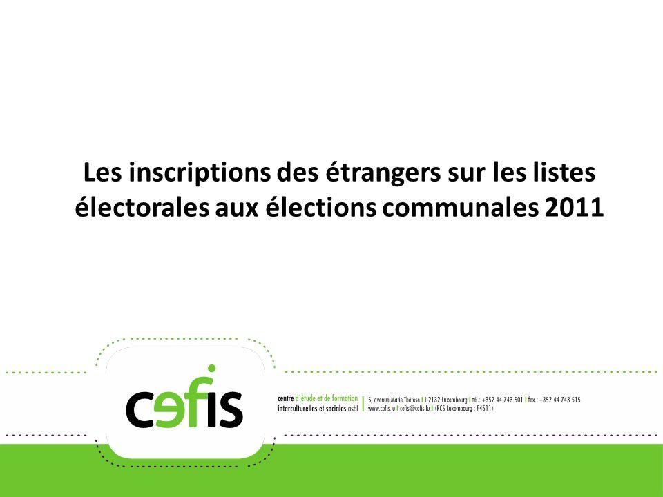 Les inscriptions des étrangers sur les listes électorales aux élections communales 2011