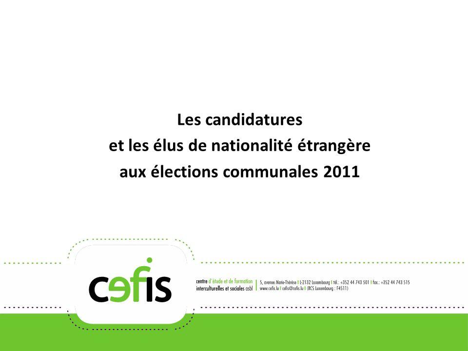 Les candidatures et les élus de nationalité étrangère aux élections communales 2011