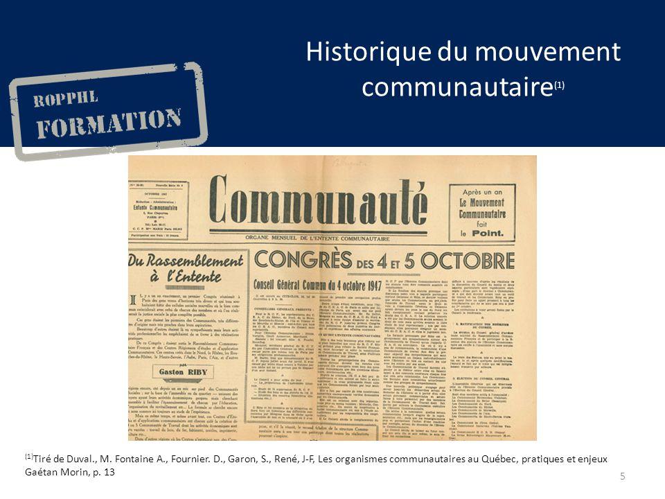 Historique du mouvement communautaire (1) (1) Tiré de Duval., M.