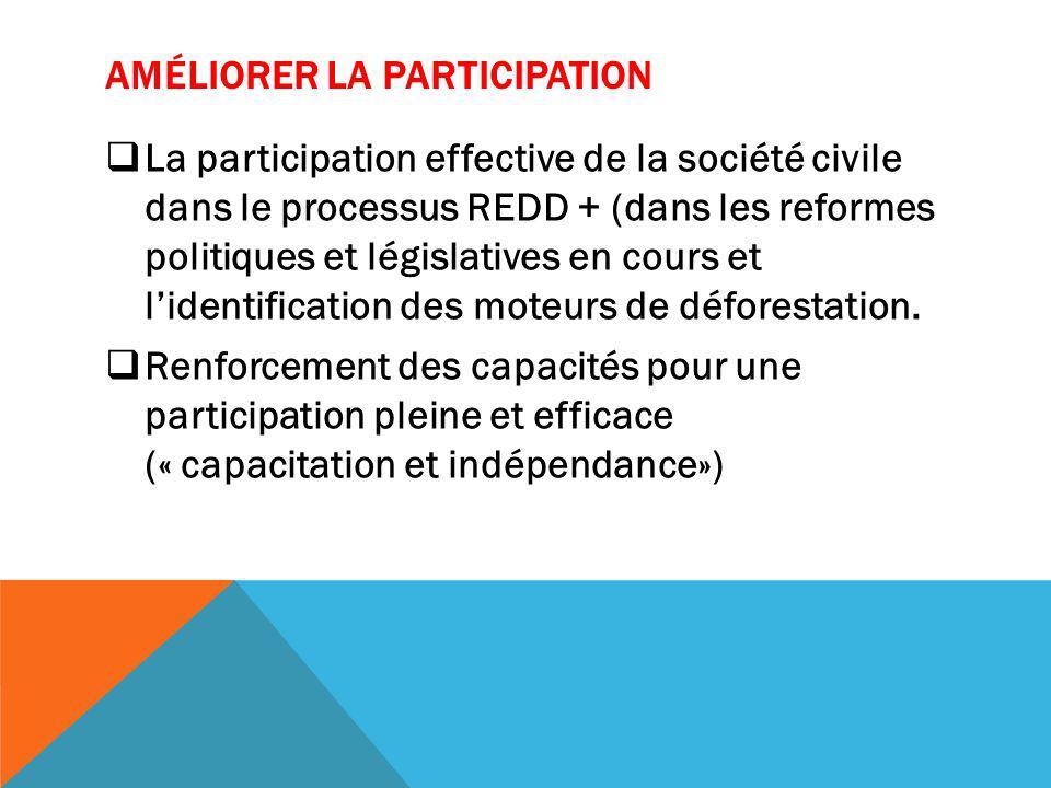 AMÉLIORER LA PARTICIPATION La participation effective de la société civile dans le processus REDD + (dans les reformes politiques et législatives en cours et lidentification des moteurs de déforestation.