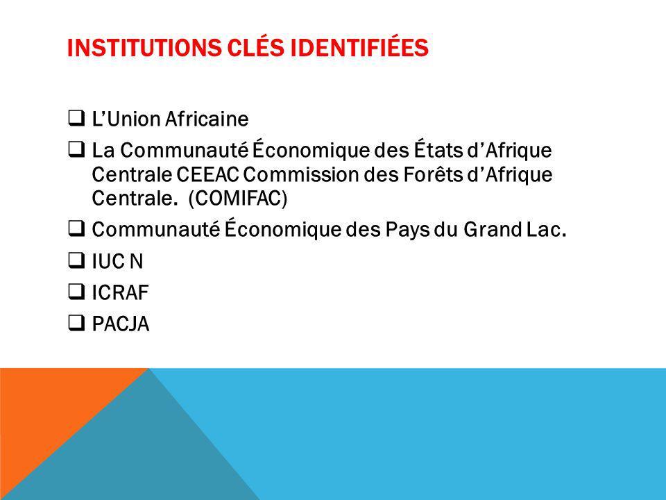 INSTITUTIONS CLÉS IDENTIFIÉES LUnion Africaine La Communauté Économique des États dAfrique Centrale CEEAC Commission des Forêts dAfrique Centrale.