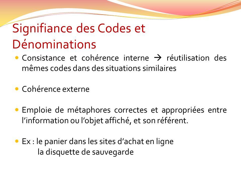 Signifiance des Codes et Dénominations Consistance et cohérence interne réutilisation des mêmes codes dans des situations similaires Cohérence externe