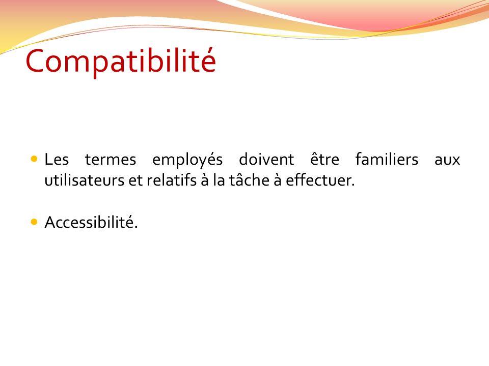Compatibilité Les termes employés doivent être familiers aux utilisateurs et relatifs à la tâche à effectuer. Accessibilité.