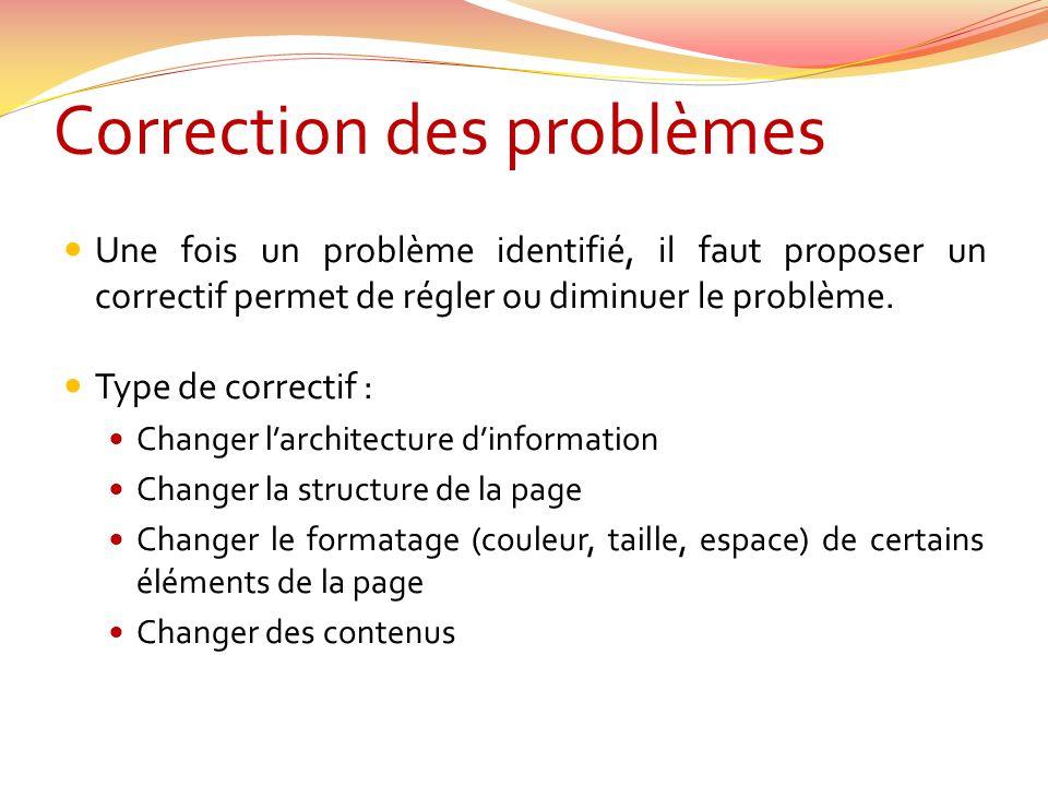 Correction des problèmes Une fois un problème identifié, il faut proposer un correctif permet de régler ou diminuer le problème. Type de correctif : C