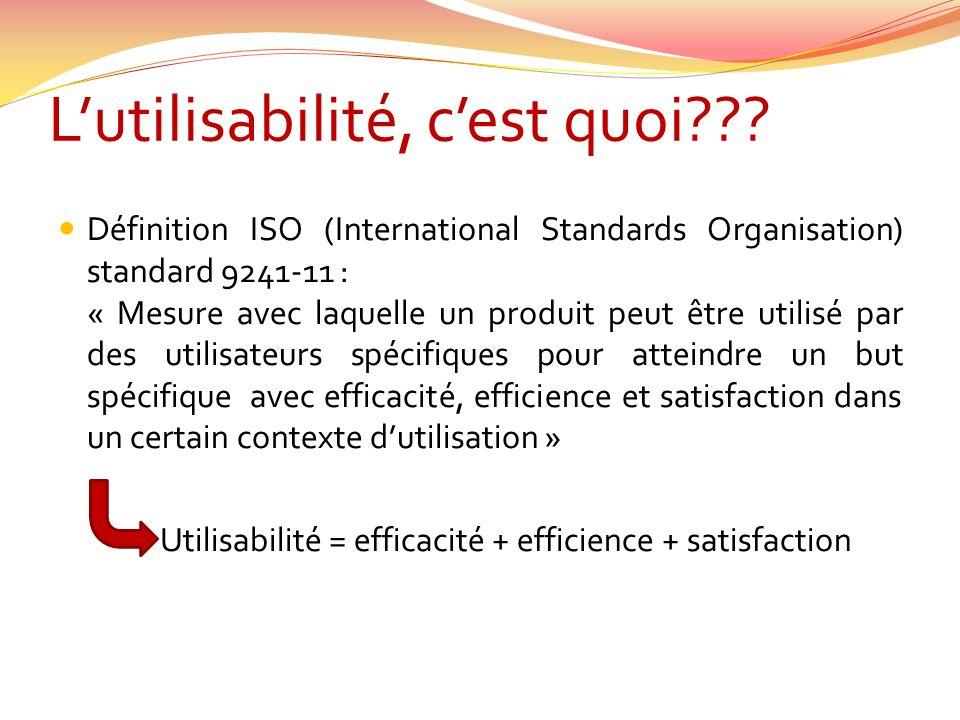 Lutilisabilité, cest quoi??? Définition ISO (International Standards Organisation) standard 9241-11 : « Mesure avec laquelle un produit peut être util