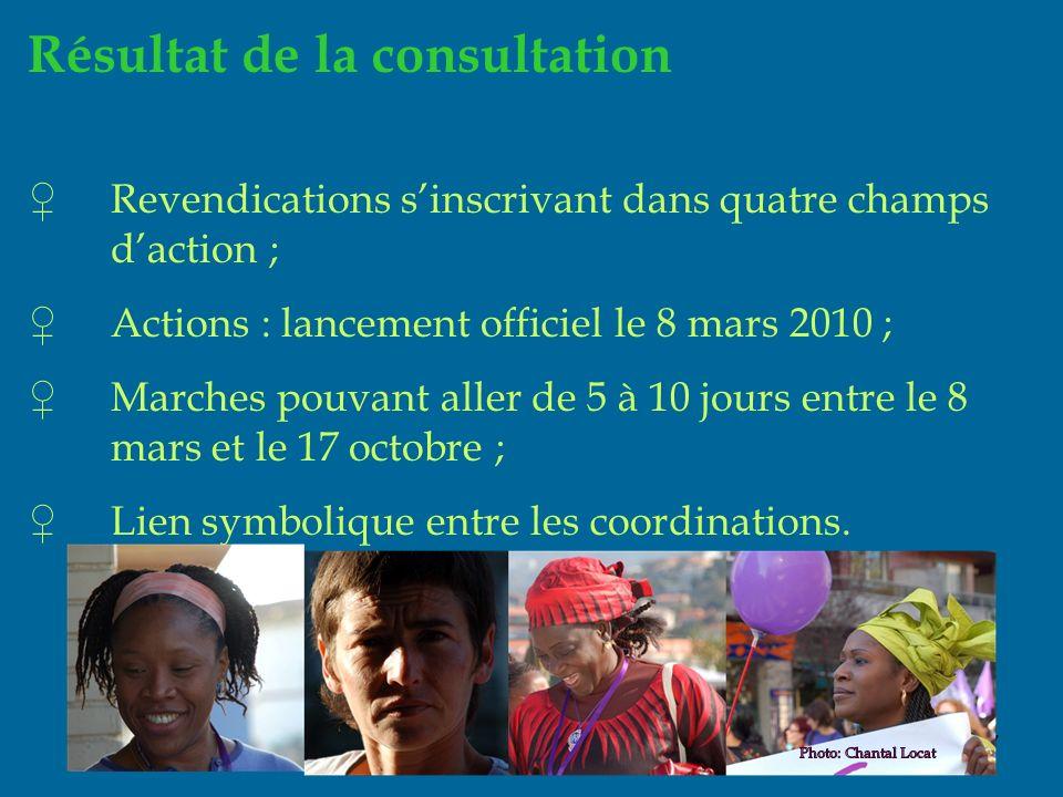 17 Résultat de la consultation Revendications sinscrivant dans quatre champs daction ; Actions : lancement officiel le 8 mars 2010 ; Marches pouvant aller de 5 à 10 jours entre le 8 mars et le 17 octobre ; Lien symbolique entre les coordinations.