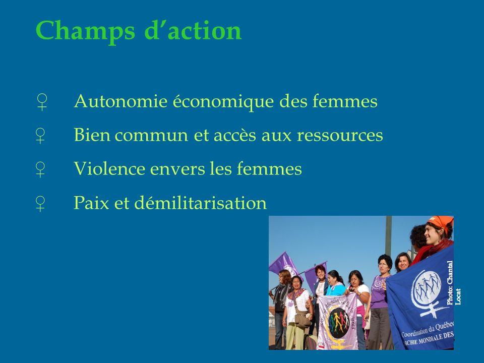 18 Champs daction Autonomie économique des femmes Bien commun et accès aux ressources Violence envers les femmes Paix et démilitarisation