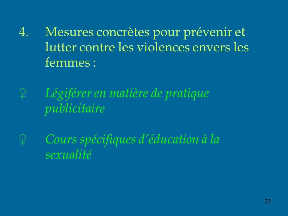 22 4.Mesures concrètes pour prévenir et lutter contre les violences envers les femmes : Légiférer en matière de pratique publicitaire Cours spécifiques déducation à la sexualité