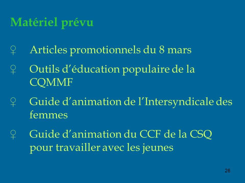 26 Matériel prévu Articles promotionnels du 8 mars Outils déducation populaire de la CQMMF Guide danimation de lIntersyndicale des femmes Guide danimation du CCF de la CSQ pour travailler avec les jeunes