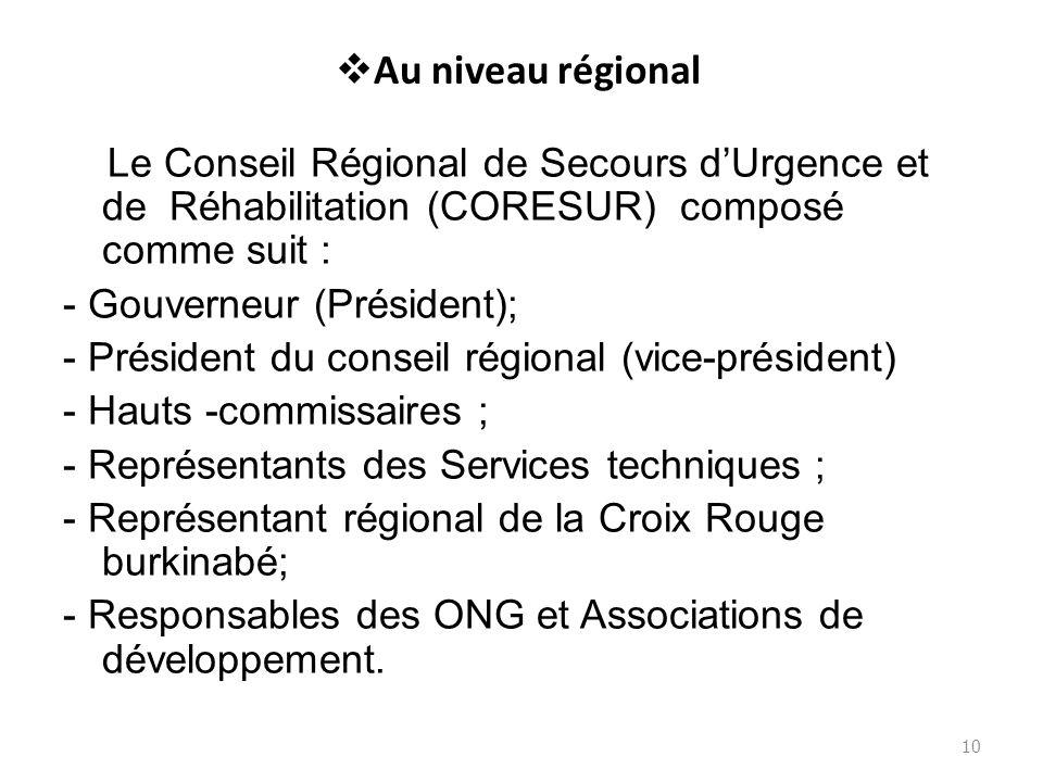 Au niveau régional Le Conseil Régional de Secours dUrgence et de Réhabilitation (CORESUR) composé comme suit : - Gouverneur (Président); - Président d
