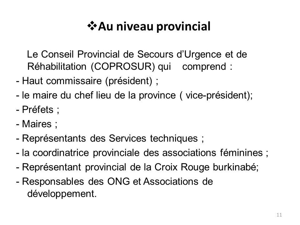 Au niveau provincial Le Conseil Provincial de Secours dUrgence et de Réhabilitation (COPROSUR) qui comprend : - Haut commissaire (président) ; - le ma