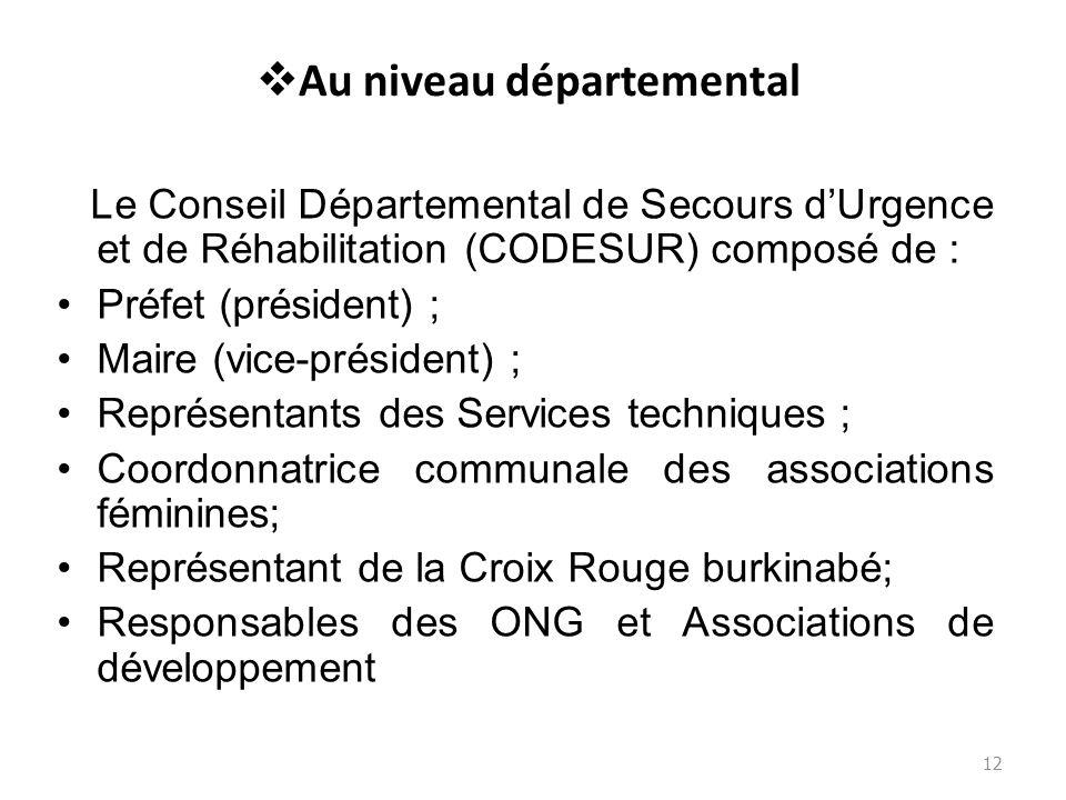 Au niveau départemental Le Conseil Départemental de Secours dUrgence et de Réhabilitation (CODESUR) composé de : Préfet (président) ; Maire (vice-prés