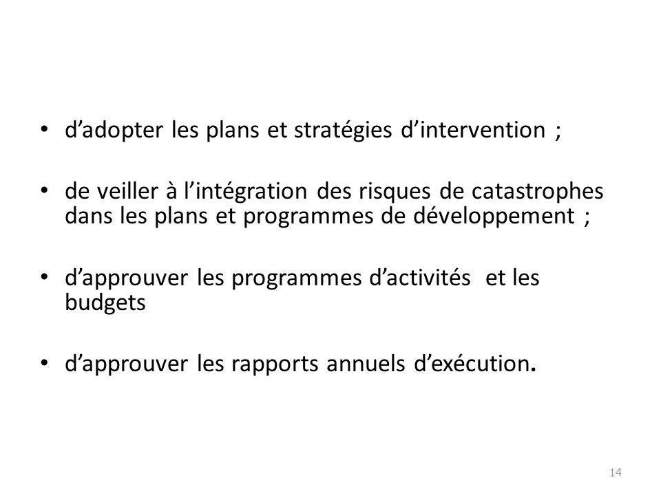 dadopter les plans et stratégies dintervention ; de veiller à lintégration des risques de catastrophes dans les plans et programmes de développement ;