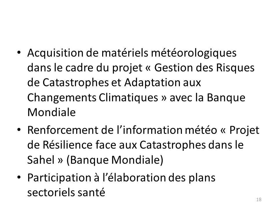 Acquisition de matériels météorologiques dans le cadre du projet « Gestion des Risques de Catastrophes et Adaptation aux Changements Climatiques » ave