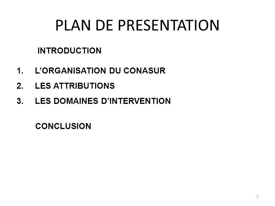 PLAN DE PRESENTATION INTRODUCTION 1.LORGANISATION DU CONASUR 2.LES ATTRIBUTIONS 3.LES DOMAINES DINTERVENTION CONCLUSION 3