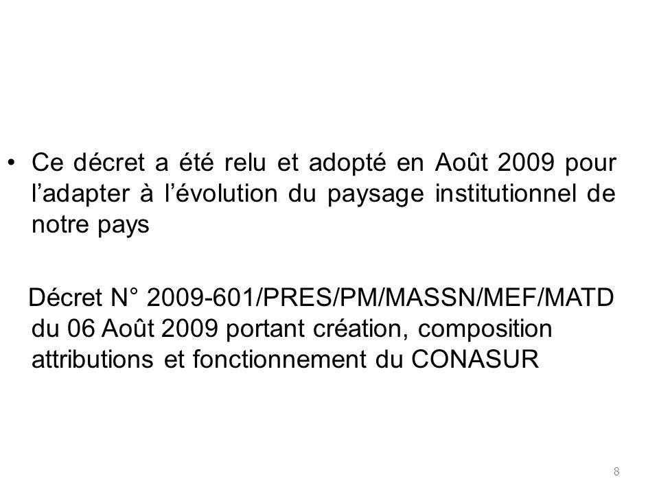 8 Ce décret a été relu et adopté en Août 2009 pour ladapter à lévolution du paysage institutionnel de notre pays Décret N° 2009-601/PRES/PM/MASSN/MEF/