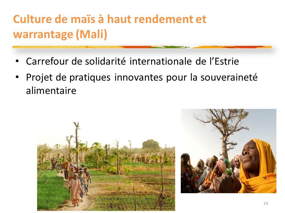 Culture de maïs à haut rendement et warrantage (Mali) Carrefour de solidarité internationale de lEstrie Projet de pratiques innovantes pour la souveraineté alimentaire 14