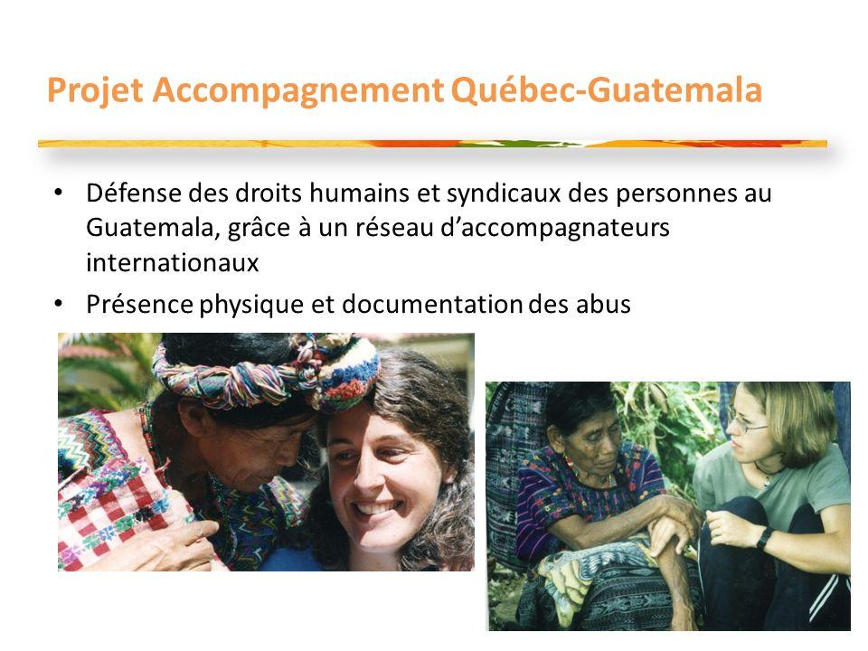Projet Accompagnement Québec-Guatemala Défense des droits humains et syndicaux des personnes au Guatemala, grâce à un réseau daccompagnateurs internationaux Présence physique et documentation des abus 16
