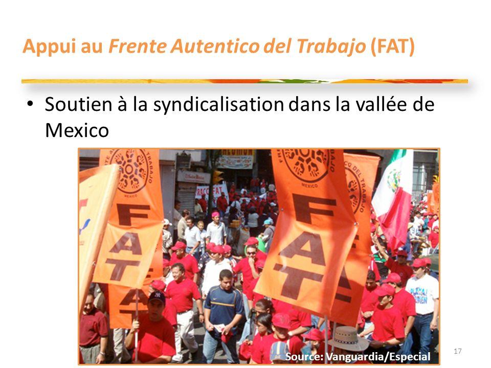 Appui au Frente Autentico del Trabajo (FAT) 17 Source: Vanguardia/Especial Soutien à la syndicalisation dans la vallée de Mexico