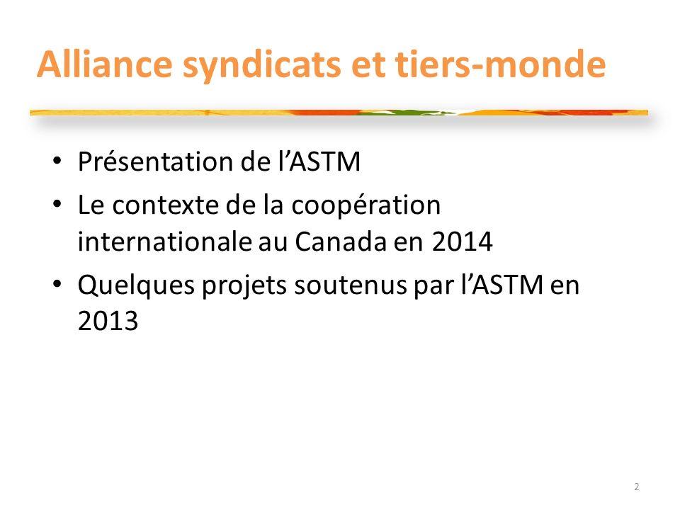 Alliance syndicats et tiers-monde Présentation de lASTM Le contexte de la coopération internationale au Canada en 2014 Quelques projets soutenus par lASTM en 2013 2
