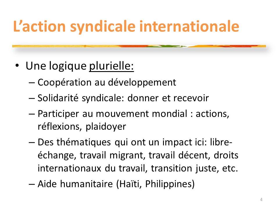 Laction syndicale internationale Une logique plurielle: – Coopération au développement – Solidarité syndicale: donner et recevoir – Participer au mouv