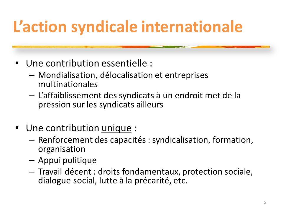 Laction syndicale internationale Une contribution essentielle : – Mondialisation, délocalisation et entreprises multinationales – Laffaiblissement des