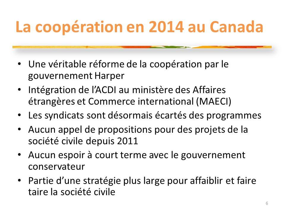 La coopération en 2014 au Canada Une véritable réforme de la coopération par le gouvernement Harper Intégration de lACDI au ministère des Affaires étr