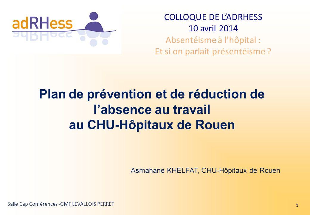 COLLOQUE DE LADRHESS 10 avril 2014 Absentéisme à lhôpital : Et si on parlait présentéisme ? Salle Cap Conférences -GMF LEVALLOIS PERRET Plan de préven