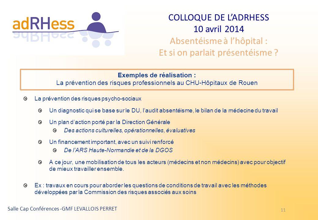 COLLOQUE DE LADRHESS 10 avril 2014 Absentéisme à lhôpital : Et si on parlait présentéisme ? Salle Cap Conférences -GMF LEVALLOIS PERRET 11 Exemples de