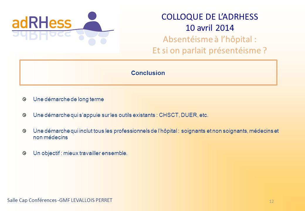 COLLOQUE DE LADRHESS 10 avril 2014 Absentéisme à lhôpital : Et si on parlait présentéisme ? Salle Cap Conférences -GMF LEVALLOIS PERRET 12 Conclusion